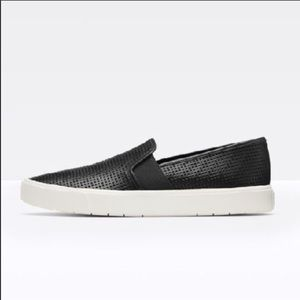 Black Vince Perforated Leather Sneakers